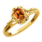 0.42 Ct Oval Orange Red Madeira Citrine Sapphire Gold Plated Silver Ring