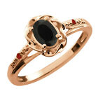 0.41 Ct Oval Black Onyx Red Garnet Rose Gold Plated Sterling Silver Ring