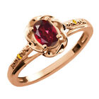 0.52 Ct Oval Ruby Red Mystic Topaz Citrine Gold Plated Sterling Silver Ring