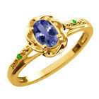 0.46 Ct Oval Blue Tanzanite Green Tsavorite Gold Plated Sterling Silver Ring