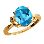 2.86 Ct Oval Swiss Blue Topaz Diamond Yellow Gold Plated Sterling Silver Ring