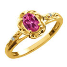 0.51 Ct Oval Pink Tourmaline White Topaz Yellow Gold Plated Sterling Silver Ring