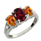2.50 Ct Oval Rhodolite Garnet and Mystic Topaz 925 Silver Ring