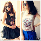 Womens European Fashion Flower Skull Sleeveless Shirt 2 Colors Tops(Black&white)
