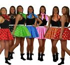 "Polka Dot 15"" Skater Skirt Full Circle Fancy Dress 60s 70s Roller Girl"