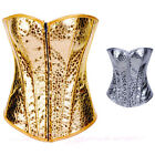 New Hot Gold Silver Lingerie Corset Women Sexy Vintage Bustier Waspie S-XXL 6-16