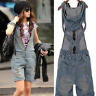 Womens Retro Washed cowboy Hole Shorts Jeans Romper Overall Pants Jumpsuit HOT