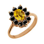 1.03 Ct Checkerboard Citrine Black Diamond Gold Plated Sterling Silver Ring
