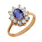 1.05 Ct Checkerboard Blue Iolite Topaz Gold Plated Sterling Silver Ring