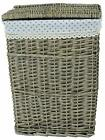 Lidded Wicker Linen Laundry Bin Basket with Cotton Liner