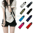 MENS WOMENS ELASTIC SUSPENDERS UNISEX ADJUSTABLE Y-SHAPE CLIP-ON COLORFUL BRACES