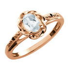 0.44 Ct Oval Sky Blue Aquamarine Black Diamond Gold Plated Sterling Silver Ring