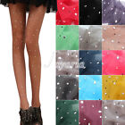 Women Sexy Thin Bling Crystal Rhinestone Pantyhose Stockings Tights Candy Color