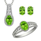 3.00 Ct Green Peridot & White Topaz Sterling Silver Ring Pendant & Earrings Set