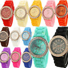 Girls Women Geneva Golden Crystal Watch Ladies Silicone Quartz Jelly Wrist Watch