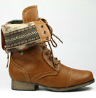 Whisky Brown Fold down Plaid Mid-Calf Lace-Up Military Combat Boots Jetta-25f