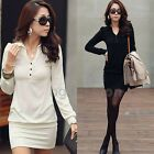 Sexy Ladies V Neck Long Sleeve Bodycin Mini Short Dress Slim Fit Tunic Top Shirt