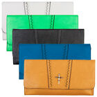 New Ladies Faux Leather Cut Out Womens Metallic Cross Party Clutch Handbag Bag