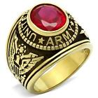 GOLD EP SIMULATED OVAL RUBY US ARMY MILITARY RING SIZE 8 9 10 11 12 13
