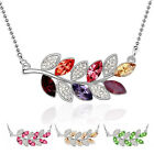 18K White Gold Plated Crystal Leaves Pendant Made with Swarovski Elements