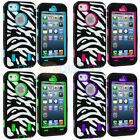 Hybrid Deluxe Zebra Hard/Soft Case Cover+Built in LCD Protector for iPhone 5 5G