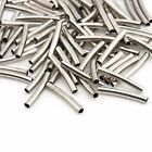 100pcs Solid Hotsale Curved Tube Sliver Spacer Metal Bead Wholesale 3Sizes