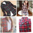 Fashion Women's Lapel Plaid & Check Style Casual Long Sleeve Shirts Top Blouse