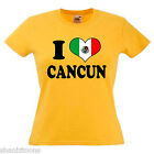 I Love Heart Cancun Mexico Ladies Lady Fit T Shirt 13 Colours Size 6 - 16
