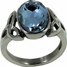 Trinity with Blue Stone Stainless Steel Fashion Ring Sizes 6-10
