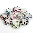 25x Crystal Rhinestone Resin European Charms 12mm Beads Fit Bracelet Multi-Color