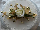 Wedding Flowers Rose & Pearl Oval Cake Topper Posy All Colours