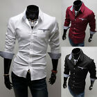 Men Korean Style Luxury Stylish Casual Dress Slim Fit Tee Shirts White Black