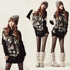 Hot Women Tiger Printed Batwing Knitted Tops Long Sleeve Pullover Sweater Jumper