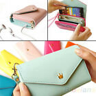 New Zipper Envelope Wallet Purse Phone Cover For Galaxy S2 S3 iPhone 4S 5 BD4U