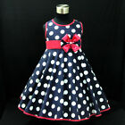 B3121 Navy Blue Polkadot Wedding Garden Party Girls Dress SZ 2,3,4,5,6,7,8,9,10Y