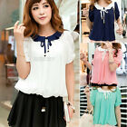 Ladies Womens Chiffon Loose Short Sleeve Round Neck Bow Blouse T-Shirt Tops