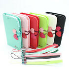 1x Cherry leather wallet credit card flip stand case Cover iPhone 4g 4s 5 5g 5S