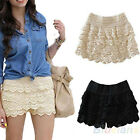 Sweet Lace Embroidery Mini Tiered Short Skirt Under Safety Pants Shorts BD4U