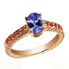 1.15 Ct Oval Blue Tanzanite Red Garnet 14K Rose Gold Ring