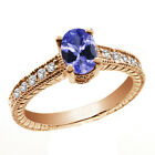 0.97 Ct Oval Blue Tanzanite White Sapphire 14K Rose Gold Ring