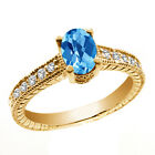 1.28 Ct Oval Checkerboard Swiss Blue Topaz White Diamond 14K Yellow Gold Ring