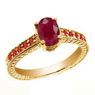 1.42 Ct Oval Red Ruby Garnet 14K Yellow Gold Ring