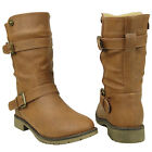 New Women's Mid Calf Motorcycle Combat Boots w/ Buckle Straps Tan Size 6-10