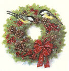 Ceramic Decals Chickadee Christmas Wreath Pinecone Berries Bow image