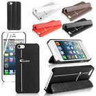 Magnetic Smart Genuine Leather Stand Case Cover For iPhone 5 + Screen Protector