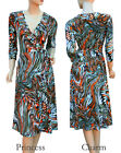 Firework Print Wrap Day Dress Orange Blue Brown Black Green Plus Size 28 to 14