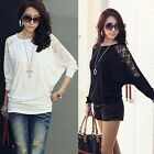 Korean Women's Casual Loose Blouse Top T-Shirt Lace Long  Dolman Batwing Sleeves