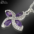 Women Jewelry Hot Gemstone 18K White Gold Plated Pendant Necklace Free Chain