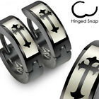 Pair of Stainless Steel Gothic Cross Hoop Huggie Cuff Earrings Men or Women