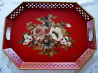 "Vintage 15"" x 20"" Hand Painted Roses/Poppies/Daisies Red Metal Tin Toleware Tray"